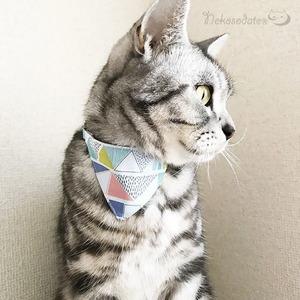 【三角いろいろ柄】猫用バンダナ風首輪/選べるアジャスター 猫首輪 安全首輪 子猫から成猫