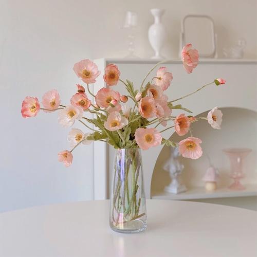 popy silk flower 10colors / ポピー シルクフラワー ケシ ヤンキビ 造花 韓国 インテリア 雑貨