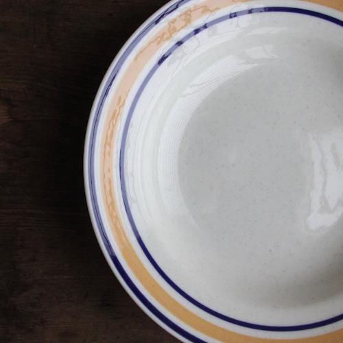 東濃陶器 ブルーとオレンジのリム皿 在庫2枚