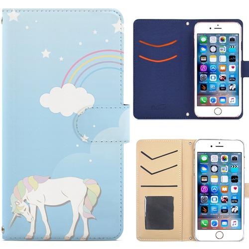 Jenny Desse iPhone8 Plus ケース 手帳型 カバー スタンド機能 カードホルダー ブルー(ホワイトバック)