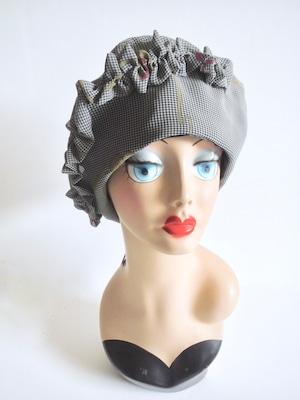 フリルベレー帽・レトロ柄<S〜M56.5cm>
