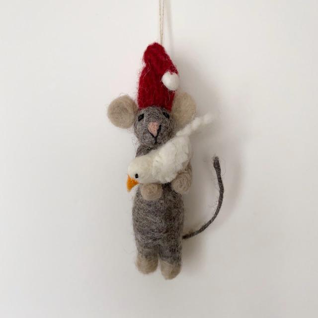 Grey Mouse with Bird|鳥と灰色のマウス オーナメント