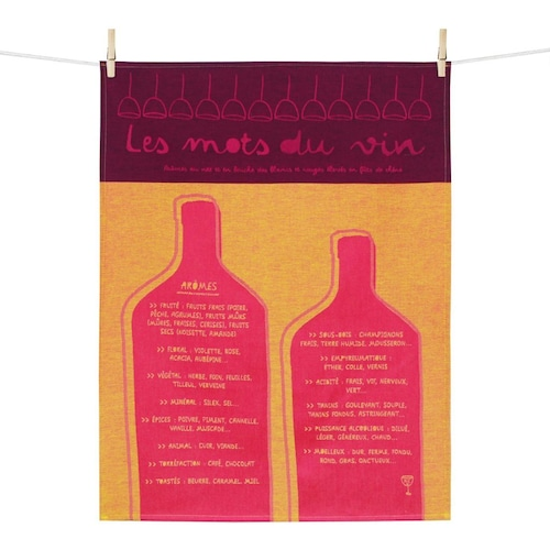 ティータオル ワインボトル(ワインの言葉) Tissage Moutet/Patrick Lebas(パトリック・レオン)