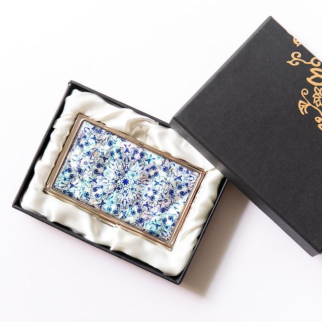 天然貝 名刺カードケース(フラワーファンタジー・ライト)シェル・螺鈿アート