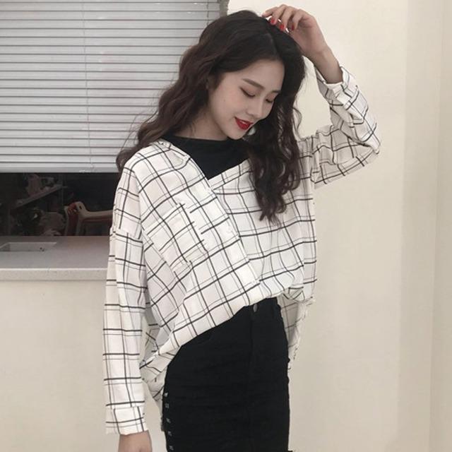 【トップス】長袖ファッションプルオーバーPOLOネック切り替えシャツ43008123