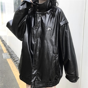 【アウター】個性無地ストリート系PUジャケット43314118