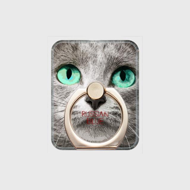 ロシアンブルー おしゃれな猫スマホリング【IMPACT -color- 】
