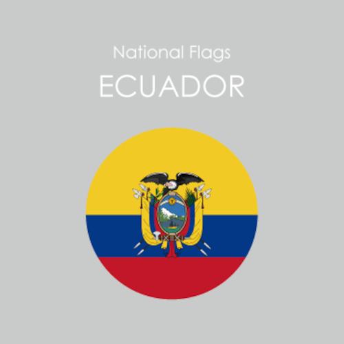 円形国旗ステッカー「エクアドル」
