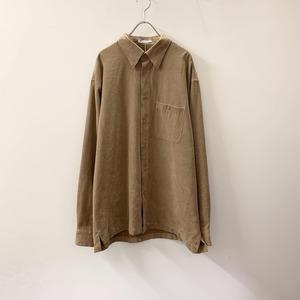 GEOFFREY BEENE フェイクスエードシャツ ブラウン size L メンズ 古着