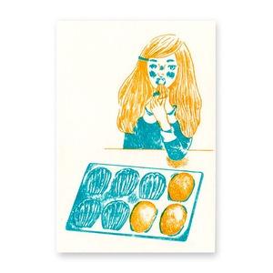 【残りわずか】手刷りポストカード  マドレーヌ
