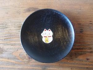 かわいいまねきねこの縁起豆皿|会津漆器 食器| ほくるし堂