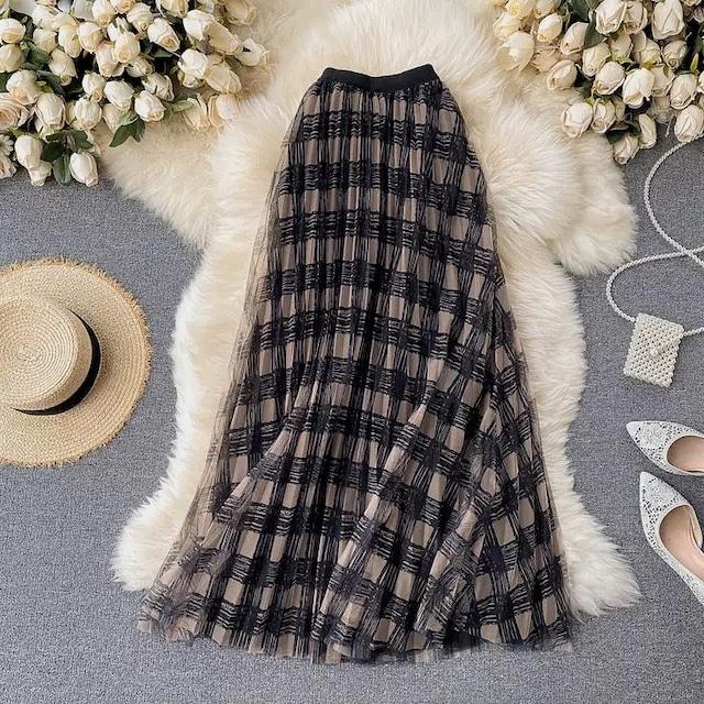❤︎ check sheer skirt