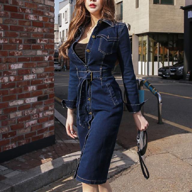 ワンピース デニム 長袖 かっこいい  ファッション 美人度アップ 流行り ダークブルー S M L LL