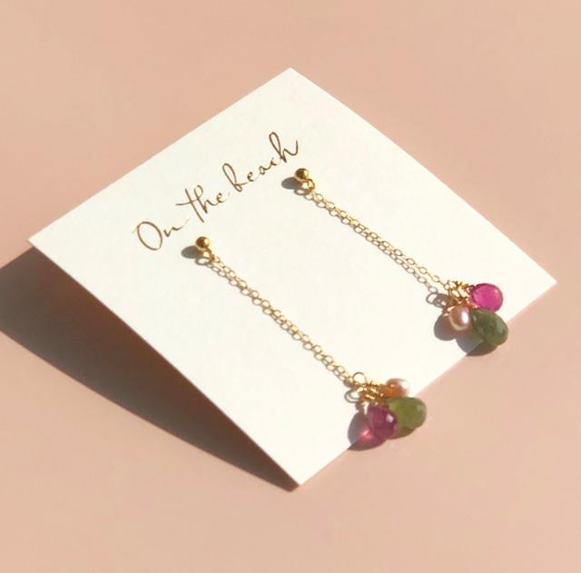 Sapphire pearl pierced earrings / OTB-68