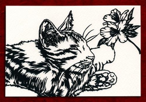 切り絵ポストカードno006 のんびりお昼寝猫(E-4-0116)