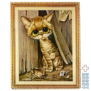 ビッグアイズ プリント絵 板塀の前の猫