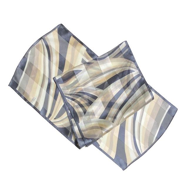 【低価格】シルク00%|日本製|横浜スカーフ 手捺染 ハーモニーライン|シック&ナチュラルなイメージに♪【sp049】