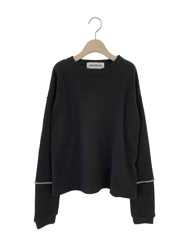 UNIONINI long sleeved rib knit pullover (black) S/M