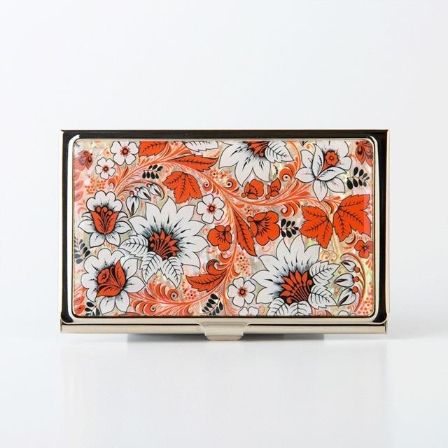 天然貝 名刺カードケース(オリエンタルフラワー)シェル・螺鈿アート