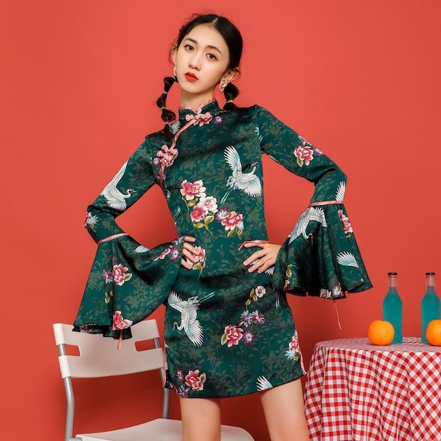 チャイナ風ワンピース 改良型チャイナドレス 中華服 長袖 S M L LL 可愛い 個性的 グリーン 緑 鶴模様