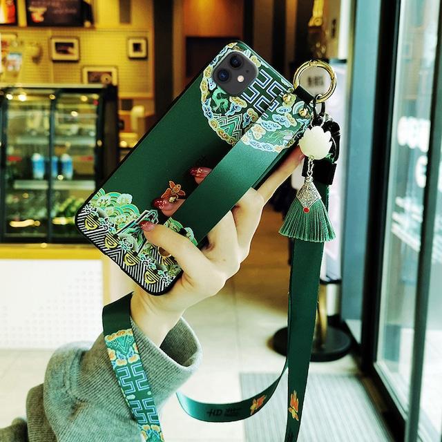 【YOUPINシリーズ】★携帯ケース★iPhone 11 11Pro 11ProMax XR X/XS XS Max 7/8 チャイナ風 グリーン ブルー