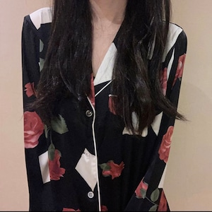 rose silk room wear 2colors / ローズ バラ シルク ルームウェア パジャマ 韓国