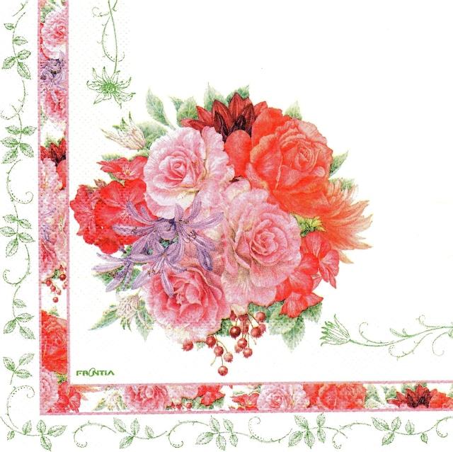 【FRONTIA】バラ売り1枚 ランチサイズ ペーパーナプキン ローズブーケ ライトグリーン
