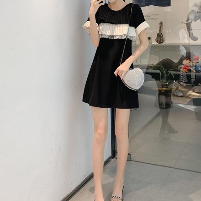 ヘップバーンスタイル ブラックスカート シフォンドレス