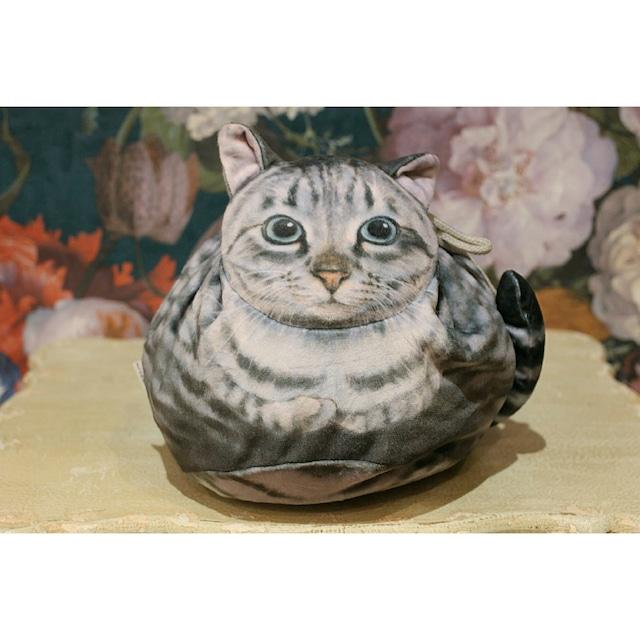 サバトラネコ/真ん丸猫の巾着袋/浜松雑貨屋 C0pernicus