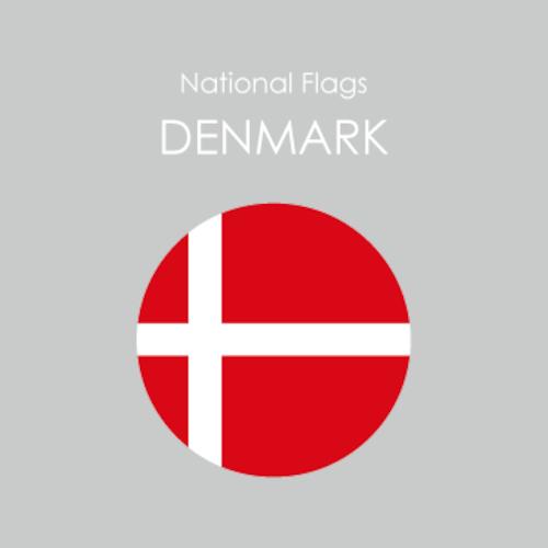 円形国旗ステッカー「デンマーク」