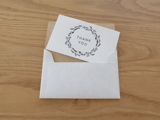 【活版印刷】小さなカードと封筒(THANK YOU.wreath)