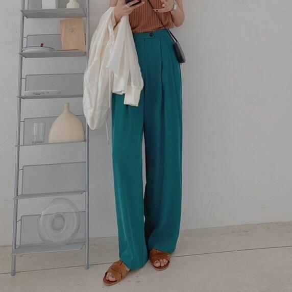 Drape straight pants(ドレープストレートパンツ)b-288
