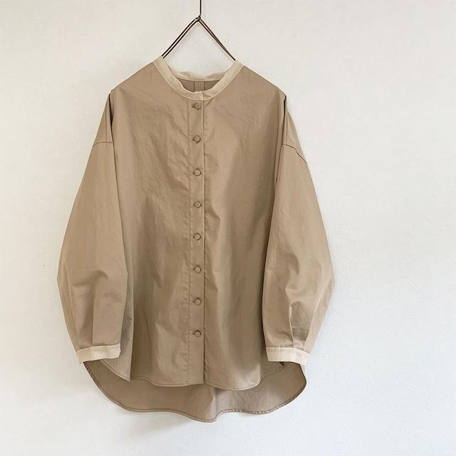 透けpointのあるコットンワッシャーシャツ[mocha]