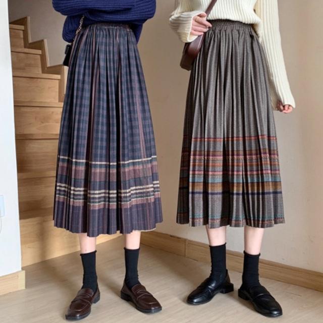 レトロガーリー♡ミモレ丈チェック柄プリーツスカート A1034