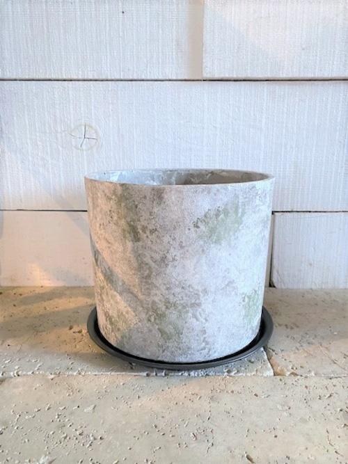 セメント鉢&陶器受皿(シリンダー) ※7号鉢サイズ