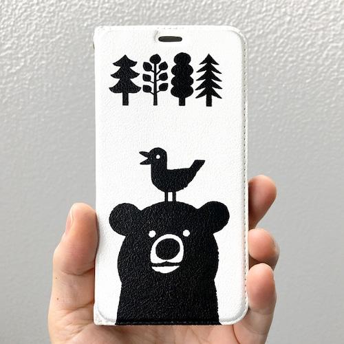 帯なし手帳型スマホケース 熊