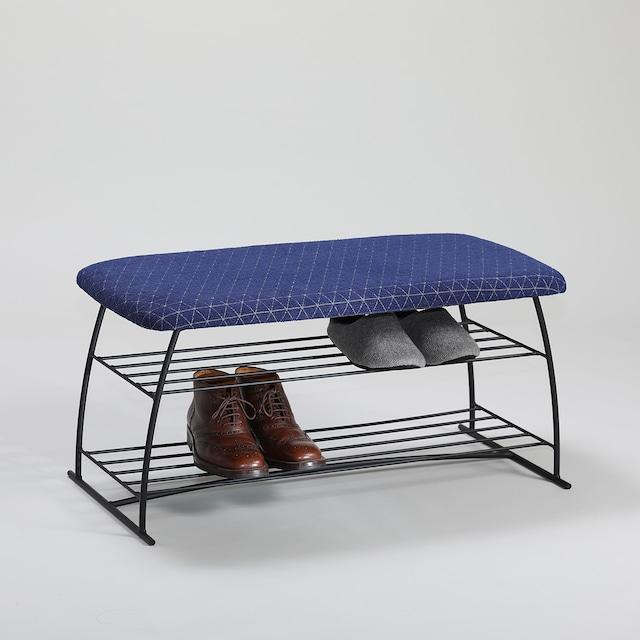 エントランスに。靴が置けるアイアンベンチ【座面:ネイビー】(FGC1903)