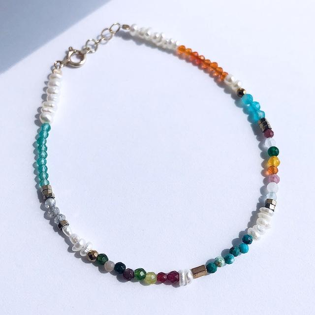 K10YG Mix Color Stone & Baroque Pearl Bracelet / チャリティージュエリー
