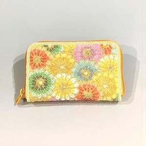 ラウンド小財布099多色菊ビーズ刺繍