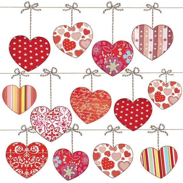 【Ambiente】バラ売り2枚 ランチサイズ ペーパーナプキン HEARTS ON WIRE レッド