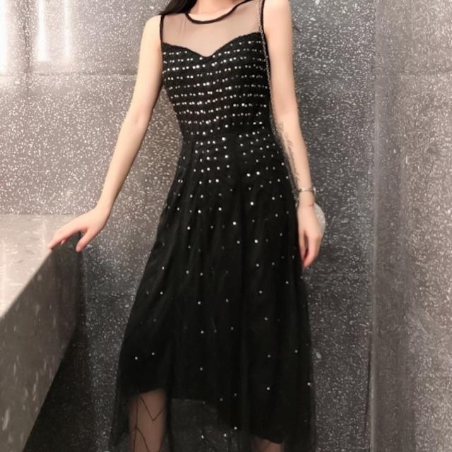 演奏会 ドレス スカート ワンピース ワンピ ロングドレス  袖あり 半袖 発表会 二次会 パーティードレス フリル 20代 30代 ブラック