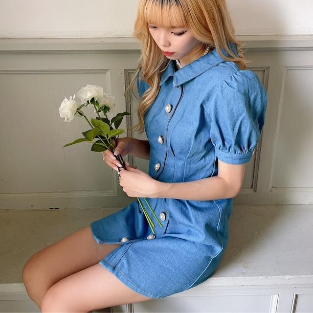 【NANA original】 back ribbon denim onepiece