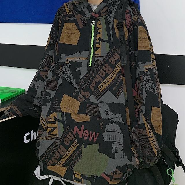 ユニセックス パーカー ハーフジップ 長袖 オーバーサイズ カジュアル 韓国ファッション メンズ レディース 男女兼用 トップスゆったり 大きめ ルーズ ストリート系 TBN-611765923488