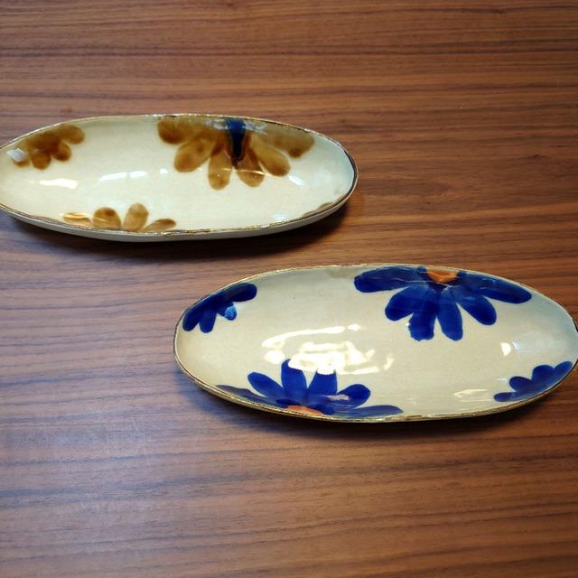 藍花 細楕円鉢