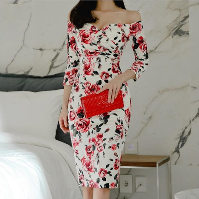 タイトドレス 七分袖 ラウンジドレス セクシードレス 大人かわいい オフショル スレンダー  着痩せ フォーマル