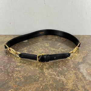 .CELINE 65 CARRIAGE LOGO LEATHER BELT MADE IN ITALY/セリーヌ馬車ロゴレザーベルト2000000052441