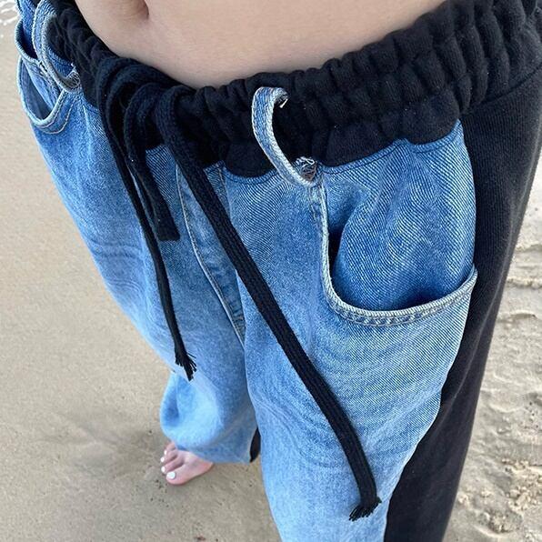 Color blocking denim pants(カラーブロッキングデニムパンツ)b-335