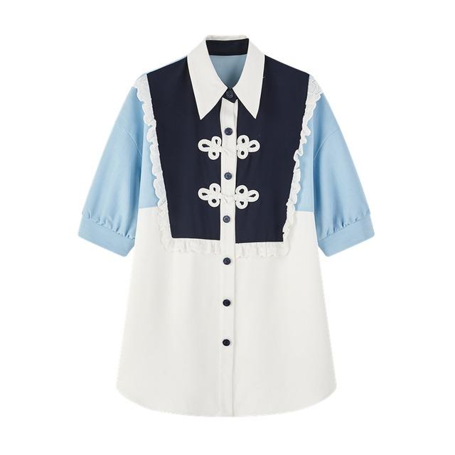 コントラストステッチロングシャツ B210517
