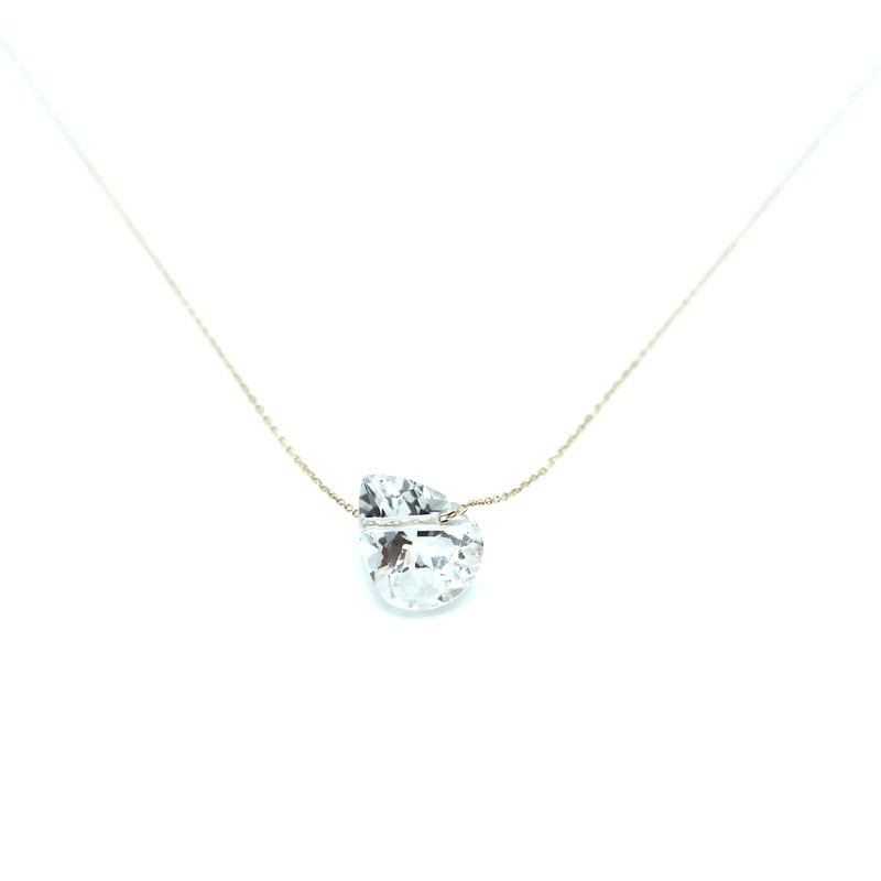 Holey stone Necklace White topaz pairshaipe - K18YG