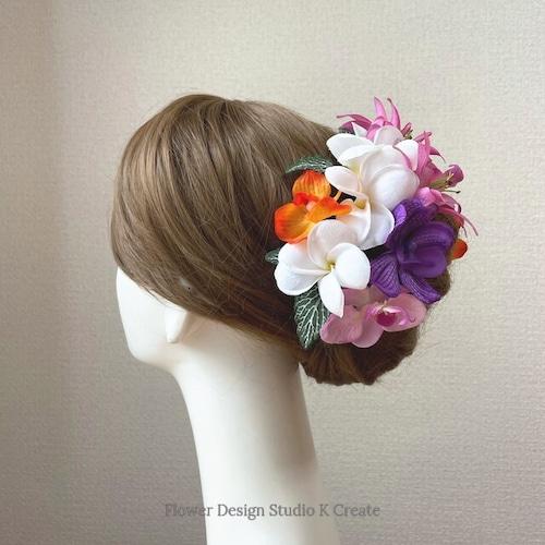 プルメリアとピンクのリリィのヘッドドレス リゾートウェディング 髪飾り 成人式 結婚式 ヘッドドレス ウェディング トロピカル